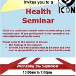 Health Seminar 29th September ICON
