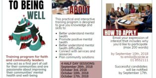 Pathways to Being Well. Training Program for Faith and Community Leaders Passionate about Mental Health and Well being